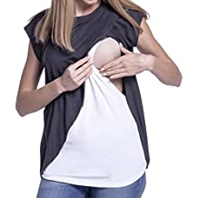 QinMM Camiseta de Mujer Maternidad de Doble Capa, premamá Lactancia Blusa de Manga Corta