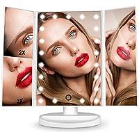 HAMSWAN Espejo de Mesa, [Regalos Originales] Espejo de Maquillaje Tríptico con Aumento 1x, 2X, 3X, Espejo Cosmético Pantalla Táctil en Iluminacíon 21 Led, Carga con USB o Batería, Adjustable 180º
