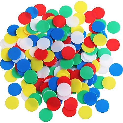 200 Stück Farbige Kunststoff Zähler Zählen Chips Bingo Marker mit Aufbewahrungstasche für Mathematik oder Spiele (Mehrfarbig A)