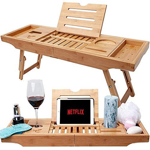Bambus Badewanne Tray & Bett Laptop Schreibtisch mit klappbaren Beinen, neueste einzigartiges Design Badewanne Caddy, Bambus Badewanne Caddy Tray mit verstellbaren Beinen
