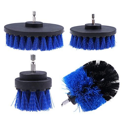 OUNONA Power Scrubber Pinsel Set für Küche Boden Auto Reifen Multifunktions-Bohrmaschine Pinsel Ball Pinsel Anzug Reinigungszubehör Blau (4er Pack)