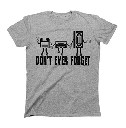 Uomo e Donna Don`t Ever Forget Retro Cassette Floppy Disc T-Shirt Mens Ladies Unisex Fit Video Music
