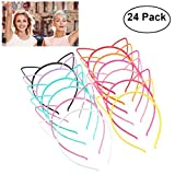 Unomor 12 Colors Plastic Cat Ears Headband, All 24 Pieces in Pack
