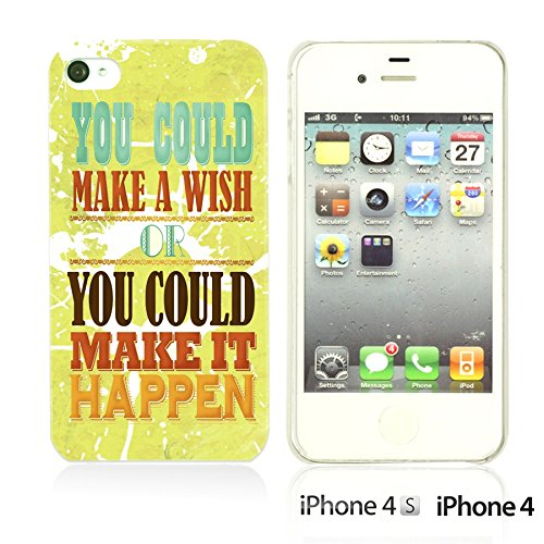 OBiDi - Typography Pattern Hard Back Case / Housse pour Apple iPhone 4S / Apple iPhone 4 - Life Is Make It Happen