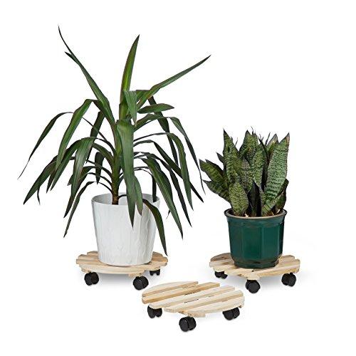 Relaxdays 10020748_186 carrello portavasi set da 3, tondo, in legno, fino a 30 kg, per tutti i pavimenti, beige