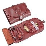 Organizar caso bolsa de piel de alta calidad de Fumar pipa de tabaco pipa encendedor soporte bolsillo para tubo de 2rojo vino