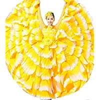Wgwioo Frauen Flamenco Kleid 180 360 540 720 Degreen Blumen Doppel Ärmel Blütenblätter Rock Eröffnung Großen Modernen Tanz Chor Kostüme