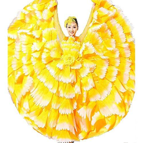 Wgwioo Frauen Flamenco Kleid 180 360 540 720 Degreen Blumen Doppel Ärmel Blütenblätter Rock Eröffnung Großen Modernen Tanz Chor Kostüme, Yellow Skirt 360, ()