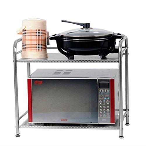 Cuisine étagères Support de cuisine d'acier inoxydable de double plancher / Shlf de four à micro-ondes de partie supérieure du comptoir / étagère d'appareil ménager / ustensiles de cuisine ( taille : 55*52cm )