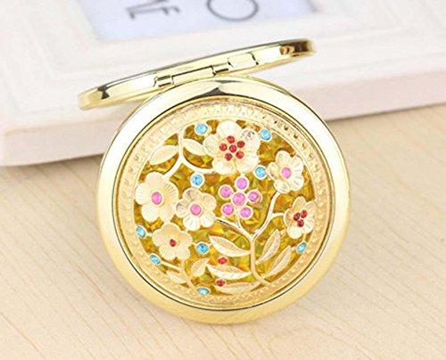 QCBC 3Pcs Weinlese-goldene hohle Blume vergrßerte faltbare Taschen-Spiegel-Metallkosmetik-kompakter Spiegel