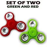 Fidget Spinner - Anti Anxiety Fidget Spinner Helps Focusing Fidget Toys [3D Figit] Premium Quality EDC Focus Toy For Kids & Adults - Best Stress Reducer Relieves Anxiety And Boredom Ceramic Cube Bearing - GREEN & RED By ART N SOUL