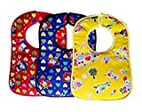 #5: Littly Velcro Bibs Combo - Heart Print, Pack of 3 (Blue, Red, Yellow)