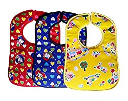 Littly Velcro Bibs Combo - Heart Print, Pack of 3 (Blue, Red, Yellow)