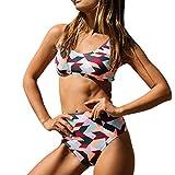 SHOBDW Mode Damen Bandeau Bandage Bikini Set Push-up Brasilianische Bademode Beachwear Badeanzug Set Frauen Geometrie Drucken Baden Badeanzug