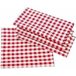 Rústico Manteles en cuadros–Color y Tamaño a Elegir–100% algodón, algodón, rojo y blanco a cuadros, 130x280 cm eckig