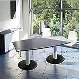 WeberBÜRO Optima Konferenztisch Bootsform 200x100 cm Besprechungstisch Anthrazit Tisch Esstisch Küchentisch