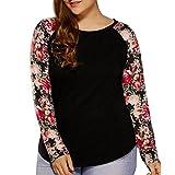 Mujeres Blusa de talla grande, LILICAT Moda de Impresión Floral de Manga Larga de la camisa, 2017 otoño O-cuello Casual Tops (3XL, Negro)