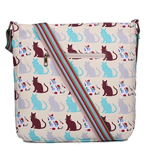 Miss Lulu Damen Leinwand Tasche Schultertasche Cross Body Messenger Bag Tupfendruck Elefant Katzen Eule Blumen Gepunktet Schmetterling Schulranzen Satchel Cat Beige