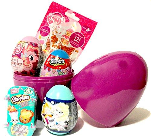 Mädchen Geburtstag Geschenk Set-Giant Überraschung Eier gefüllt mit Rollo Taschen und überraschen Eier, Shopkins, My Little Pony & Disney Frozen + T-Shirt