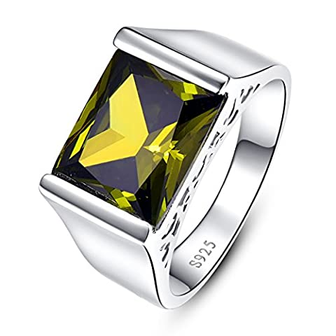 JQUEEN Men's 925 Sterling Silver Personalized Peridot August Birthstone Statement Ring Size 9