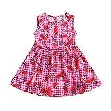 Cinnamon Kleid Hemd Kinder Kleid,Baby Mädchen Ärmellose Plaid-Kleider aus Wassermelone