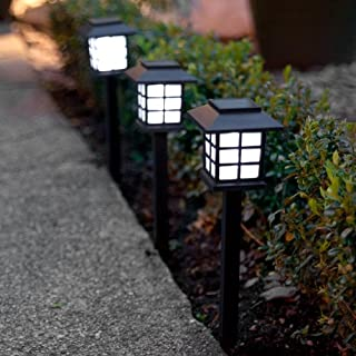 Lights4fun Set of 6 White LED Solar Lantern Garden Stake Lights