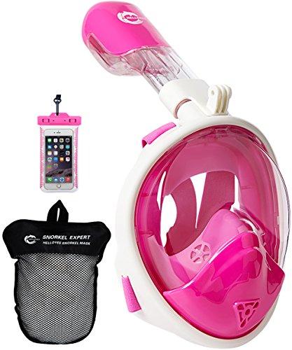 HELLOYEE Schnorchelmaske Kompatibel mit GoPro Kamera 180° Panorama-Sicht Geeignet Schnorchel Maske für Erwachsene und Kinder, Tauchermaske Antibeschlag und Leckdichtes Design