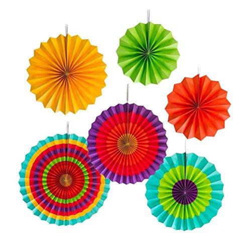 1Set (63Größen Colorful Aufhängen Papier Fans rund Rad Disc Southwestern Muster Design Home Dekorationen oder Geburtstag Hochzeit Karneval Baby Dusche Party Event Supplies Gastgeschenken Assorted size Red+green+orange