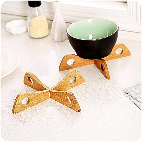 pedgeo (TM) Fashion Design in legno croce anti-calcare per isolamento pad ciotole per utensili da cucina Storage Rack antiscivolo sottobicchieri pad E5