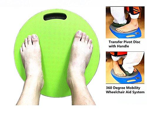 """15 """"Transfer Pivot Disc Mit Griff, 360 Grad Mobilitäts-Rollstuhl-Hilfesystem Für Unabhängige Und Abhängige Patienten Transfers, Rutschfeste Oberfläche Auf Top & Bottom Design - Grün, 400 Lb. Kapazität"""