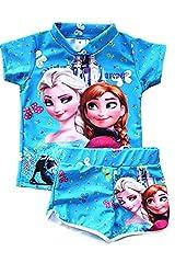 Idea Regalo - Completino da bambina composto da maglietta e pantaloncini, da usare come costume da bagno, motivo Elsa e Anna di Frozen, colore blu, 2-3 anni Blue 2-3 Anni