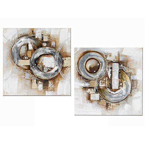 Formano 2er Set Wandbilder, Wanddeko Modern Antik 60x60cm Silber Gold Grau Braun
