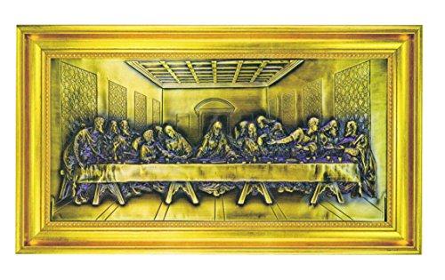Bronze-gold Leaf (Trinity The Last Supper of Jesus Christus Portrait Bronze Relief in Gold Leaf Wood Frame)