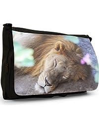 African Lion Big Cat Large Messenger Black Canvas Shoulder Bag - School / Laptop Bag