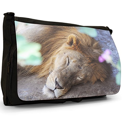 African Lion Big Cat-Borsa a tracolla in tela, colore: nero, Borsa a tracolla, per scuola, Borsa per computer portatile Nero (Lion Sleeping On Ground)