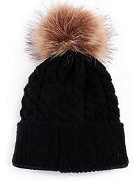 04628c5d9774 Westeng Bébé Bonnet en Tricot avec Décoration de Pompon Bonnet Chaud  Chapeau Mignon