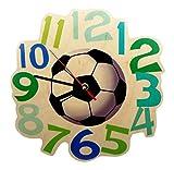Hess Holzspielzeug 30000 - Kinderwanduhr Fußball aus Holz, Durchmesser 21 cm