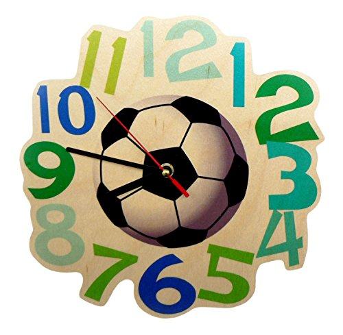 Hess Holzspielzeug 30000 Kinderwanduhr Fußball aus Holz, Durchmesser 21 cm
