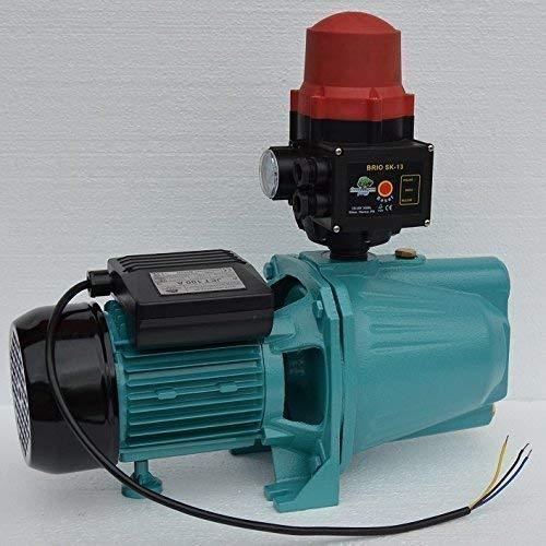 Kreiselpumpe Wasserpumpe Gartenpumpe Jet 100A 1100 Watt Fördermenge 3600 L/h 5 bar integrierter thermischer Motorschutzschalter eingebautes Rückschlagventil und integrierter Trockenlaufschutz + Manometer. -