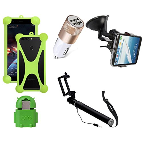 Casotec 5 in 1 Combo offer Car Mount Holder / Mobile Cover / Selfie Stick Monopod / Car Charger / OTG for Samsung Galaxy S6
