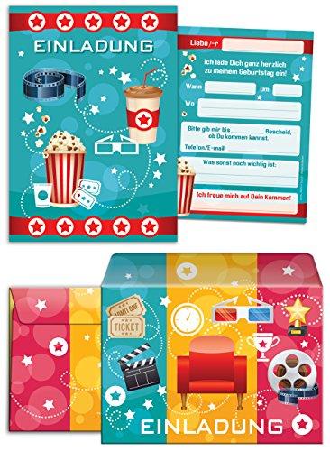 JuNa-Experten 10 Einladungskarten incl. 10 Umschläge zum Kindergeburtstag für Mädchen und Jungen Kino-Party / blau / Umschlag / Bunte Einladungen zum Geburtstag / Bunte Geburtstagseinladungen