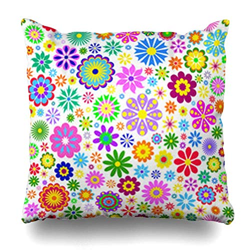 iolet Orange Flowers On Swirl Nature Pink Pattern Spring Black Retro Abstract Flower Floral Blue Pillowcase Square Size 18 X 18 Inches Home Decor Cushion Cases ()
