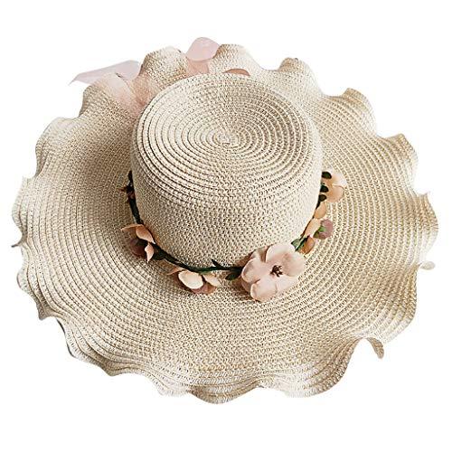 Bfmyxgs Frauen-Fischermütze handgemachte Feiertags-Kappen-Freizeit Sun-Strohkappe in Sandy Beach