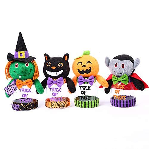 Niedliche Halloween Klassenzimmer Tür Ideen - DSYYF Halloween-Plastikbonbonglas 4er-Pack Wiederverwendbare Süßes-oder-Saures-Beutel,