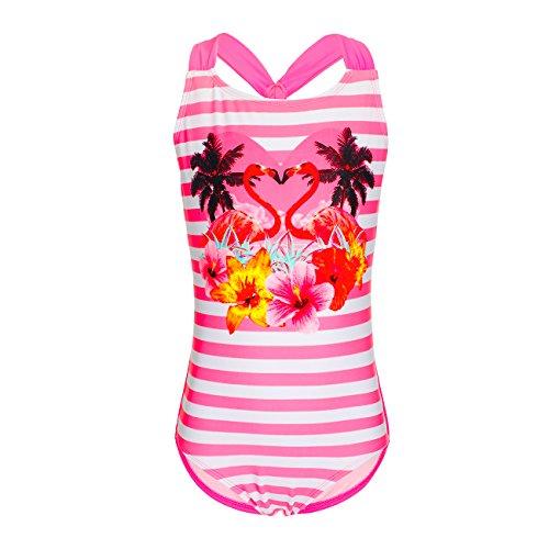 DAYU Mädchen Bademode Einteiler Flamingos Badeanzug Süß Girls Bademode Kinder Swimwear -10-12
