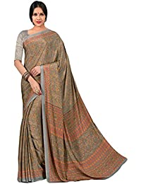 Salwar Studio Women's Grey & Orange Italian Creape Floral Printed Saree With Blouse Piece