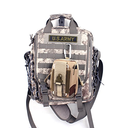 Unigear Molle Pouch Tattico Marsupio Militare Borselli da Cintura con Moschettone in Alluminio Gratis, Fili Neri-Grigi Camuffamento