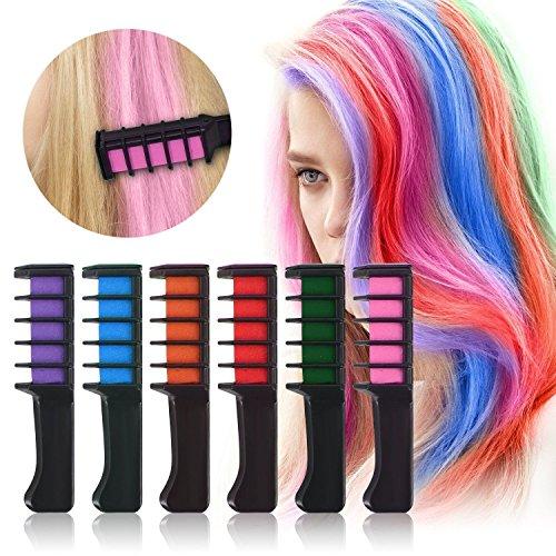 Haar Kreide Kamm temporäre Haar Dye Haare waschbar farbigen Bürste für Mädchen Herren Haare färben, 6Farben