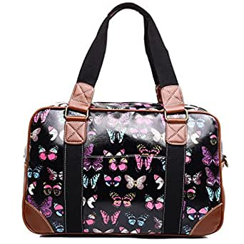 Miss Lulu Ladies Owl Butterfly Floral Polka Dot Print Oilcloth Travel Overnight Weekend School Bag (Butterfly Black)