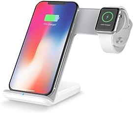 MMLC 2in1 10 Watt Qi Wireless Schnellladegerät Halter Stand für Apple Watch iPhone8 X Samsung S9 S8 S7 und Mehr Wireless Charging Stand (Weiß)